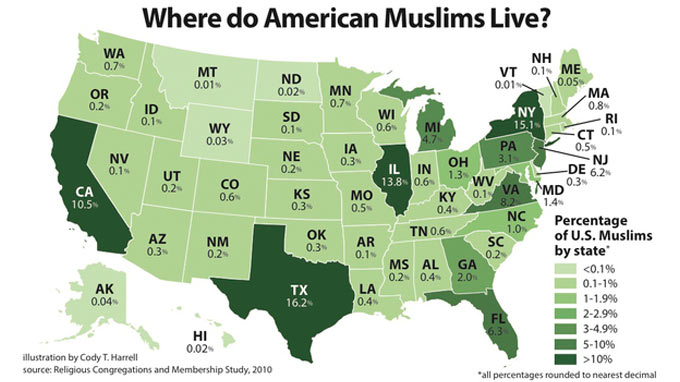 Where do American Muslims live?