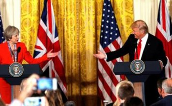 Donald Trump 'committed to NATO', says May in US visit