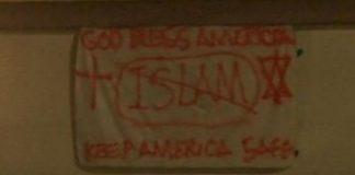 Anti-Islam Banner Suggests Muslims Endanger Americans