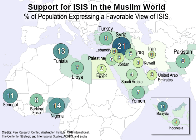 Support for ISIS in the Muslim World