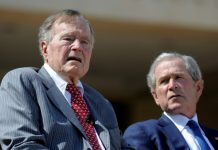 Former presidents Bush condemn bigotry, anti-Semitism
