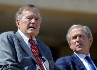 Former presidents Bush condemn bigotry, anti-Semitism