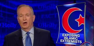 """Right-wing pundit Bill O'Reilly rails against """"Islamic extremists"""" on his former news commentary show, The O'Reilly Factor. (Fox News)"""