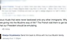 Gladys Gryskiewicz anti Muslim facebook post