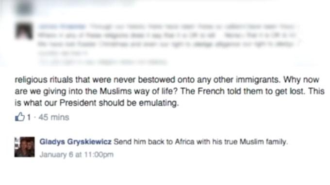Gladys Gryskiewicz anti Muslim facebook post