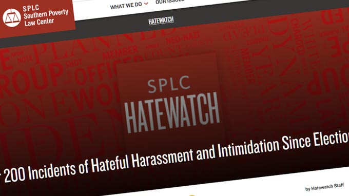 Over 200 Incidents of Hateful Harassment and Intimidation Since Election Day
