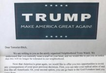 """There's no evidence that a threatening letter from a new """"neighborhood town watch"""" was circulated to Muslims across the United States. Claim: A photograph shows a threatening letter from a """"neighborhood town watch"""" that was widely circulated to Muslims in the United States."""