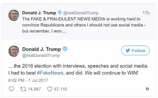 Trump Lashes Out On Media Calling It 'Fake & Fraudulent' In Twitter Row