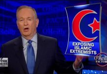 "Right-wing pundit Bill O'Reilly rails against ""Islamic extremists"" on his former news commentary show, The O'Reilly Factor. (Fox News)"