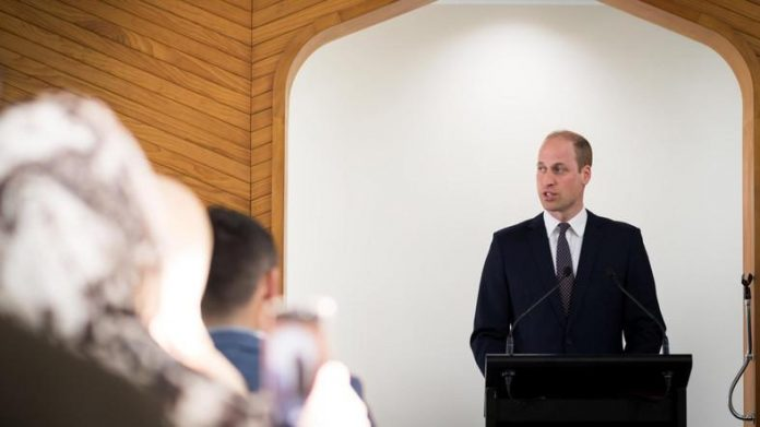 About 160 people gathered at the Al Noor mosque in Christchurch to meet the prince. (Twitter)