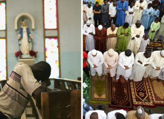 The countries with the 10 largest Christian populations and the 10 largest Muslim populations